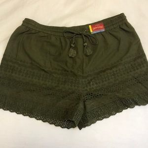 Olive Green Faded Glory Embroidered Shorts
